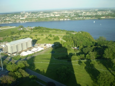A view from the revolving restaurant. The shadow of the restaurant can be seen.